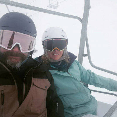 Helen and I in a blizzard on the lift
